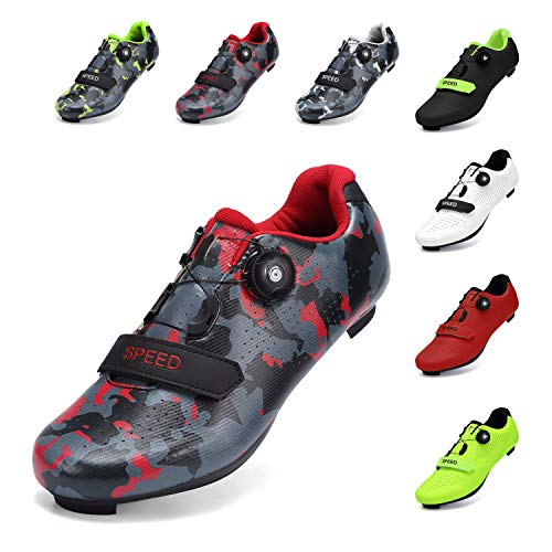 SWISSWELL Men's Road Cycling Shoes Compatible Mountain Bike with SPD/SPD-SL & Fast Rotating Buckle (Camouflage Red,9 Women/7 Men)