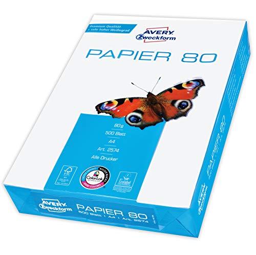 Avery Zweckform 2574 Drucker-/Kopierpapier (500 Blatt, 80 g/m², DIN A4 Papier, hochweiß, für alle Drucker) 1 Pack
