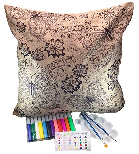 DIY Cute Pillow Cover Coloring Kit - Arts And Crafts For Kids, Adults And Toddlers - 18x18 Decorative Cushion Cover Painting Kit - Cool Home Decoration Or Kids Room Dec (Butterflies & Flowers)