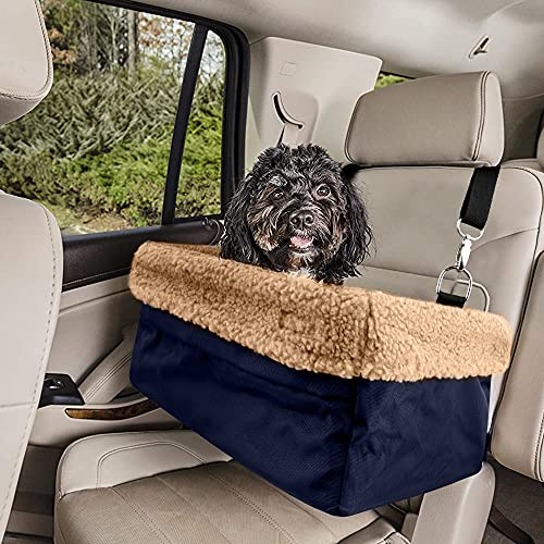 Devoted Doggy Deluxe Dog Car Seat, Dog Booster Seat Fits Pets up to 15lbs, Padded Cushioning, Adjustable Straps, Metal Frame Encasing, Installs in Seconds, Collapsible Canvas and Easy to Clean