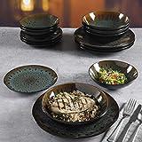 Gibson Elite Kyoto Geschirr-Set, rund, reaktive Glasur, Doppelschüssel, Steingut, Service für 4 (16-teilig), Blaugrün - 5