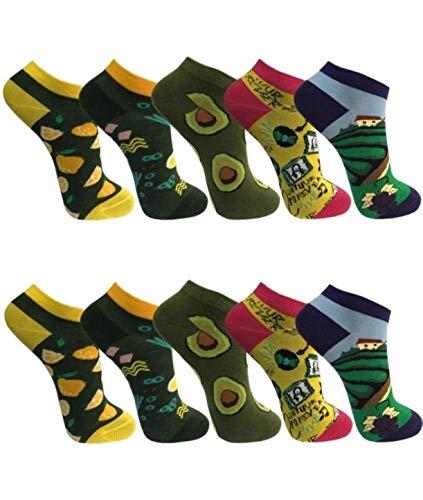 "BestSale247 10 Paar modische Damen Mädchen Sneaker Socken Füßlinge Baumwolle (35-38,""CRAZY)"