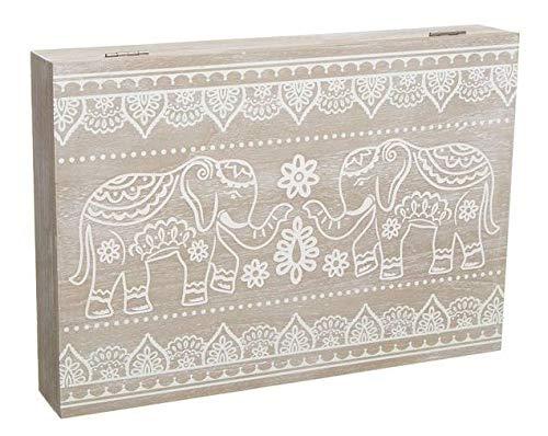 TIENDA EURASIA® Tapa de Contador de Luz Diseño Nórdico - Cubre Contador Eléctrico de Madera 46 x 7 x 32 cm (Elefantes)