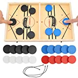 colmanda Wooden Hockey Game Brettspiel Hockey Katapult Schach Interaktion Katapult Bouncing Brettspiel Bouncing Chess Fast Sling Puck Game Tisch Hockey Spielzeug für Kinder, Erwachsene(36*22*2.6) (1)