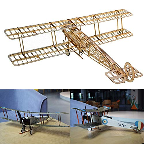 Avro 504k Slow Flyer KIT, 505 mm Spannweite, Maßstab 1/20, Modellflugzeug zum selber Bauen, Balsa Holz Bausatz, RC Flugzeugmodell Baukasten, 385 x 505 x 152 mm groß, Lasercut, 65,7 g Fluggewicht