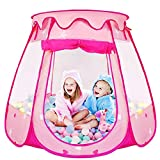 Meiidoshine Pop Up Tent for Girls, Foldable Ball Pit Kids Tent with a Carrying Bag, Toddler Girl Toys Play Tents as Indoor Outdoor Playhouse, Birthday Gift for 1,2,3,4,5,6,7,8 Year Old Girl