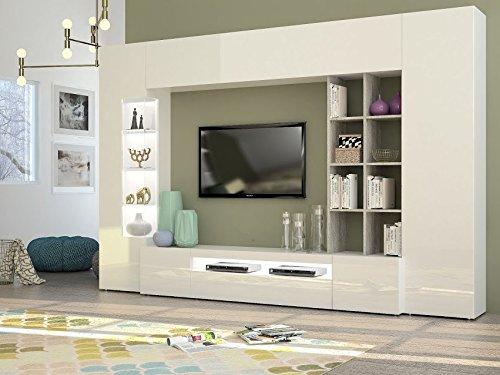 elbectrade Parigi Composizione Soggiorno Made in Italy Bianco e Cemento. Dimensioni (LHP) in cm. 290191x40 Disponibile in Quattro Colori a Scelta.