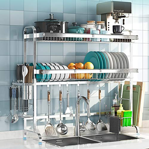 LoveHouse Dish Rack Over Sink, Stainless Steel Dish Drainer Shelf Large Dish Drying Rack with Utensil Holder Kitchen Supplies Storage Shelf-Silver 2-Tier 69cm(27inch)