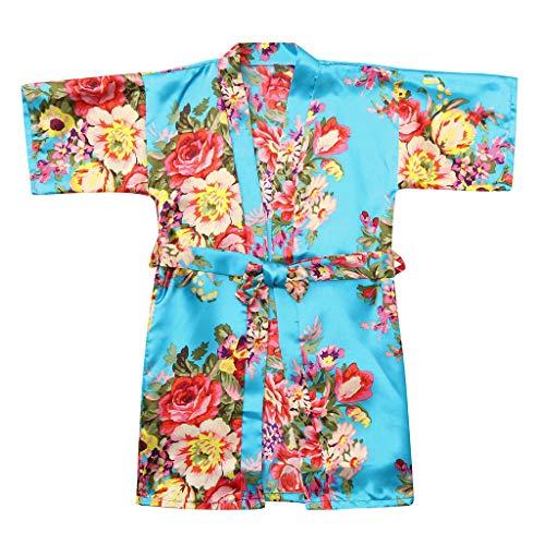 Peuter Meisjes Badjassen Effen Zijde Satijn Kimono Bad Robes Baby Kid Leuke Dressing Jurk Lange Mouw Bloemen Slaapmode Kleding Zachte pyjama Nachtkleding Handdoek Wrap Douche Gift 2-8 Jaar oud