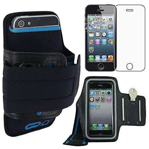 ebestStar sportarmband compatibel met iPhone 5S 5 Apple beschermhoes neopreen armband case zwart + displaybeschermfolie gehard glas [apparaat: 123,8 x 58,6 x 7,6 mm, 4,0 inch]