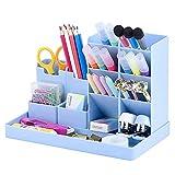 Lapiceros para Escritorio, Portalápices de Plástico, Portalápices Multifuncional, Soporte para Bolígrafos Escritorio, Organizador de Pluma para Oficinas, para Hogar Oficina Escuela (Azul)