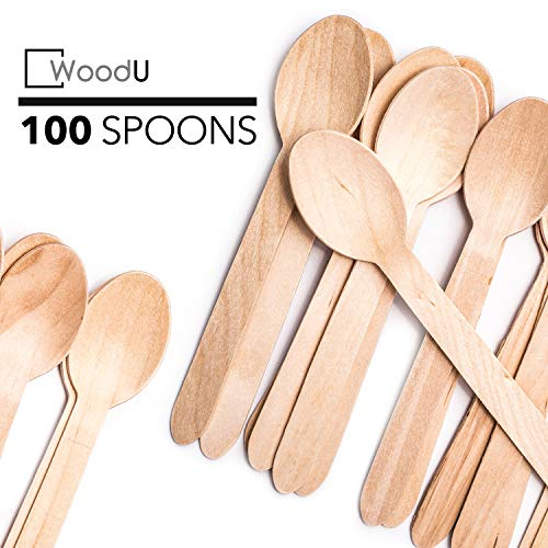Disposable Wooden Eco Friendly Utensils, Cutlery Biodegradable Compostable Natural Birchwood Spoon, Party supplies Camping BBQ, Picnic, Birthday parties GO GREEN! (6.1/4' 100 Pack)