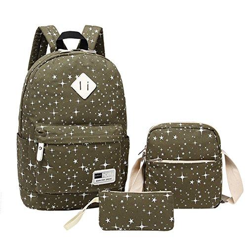 Mädchen Schulrucksack Mädchen Daypack Kinder Backpack für Schule und Freizeit 3-In-1 Schulrucksack Armeegrün