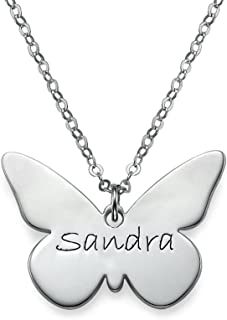 Engraved Butterfly Pendant Necklace - Custom Made with Any Name!