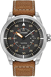 Citizen Men's Eco-Drive Stainless Steel Watch with Brown Leather Strap