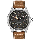 Citizen Men's Eco-Drive Watch in Stainless Steel and Brown Leather Strap Watch with Date, AW1361-10H