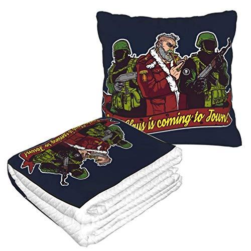 You Better Watch Out - Manta de viaje de Navidad y almohada 2 en 1, manta de avión, almohada de cuello de viaje y manta