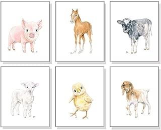 Farm Nursery Art Prints Set of 6 Unframed, Original Baby Animal Watercolors, Kids Room Wall Decor, Lamb Chick Pig Horse Cow Goat