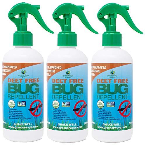 Greenerways Organic Natural Bug Spray, Insect Repellent, USDA Organic, Non-GMO, Mosquito-Repellent, Bug Repellant DEET-Free, Pest Control (12oz, 3 Pack)