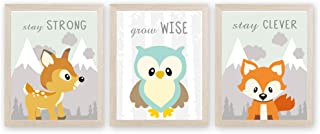 CHDITB Woodland Animal Art Print Adorable Safari Painting, Set of 3 <8x10 inch>Canvas Jungle Fox,Owl,Deer&Inspirational Quotes Posters for Nursery Kids Bedroom Decor『Framed, Ready to Hang』
