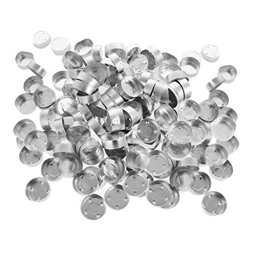 Recipientes de aluminio vacíos para caja de luz de té de 200 piezas para velas de gel de cera de gelatina DIY - 38x14 mm