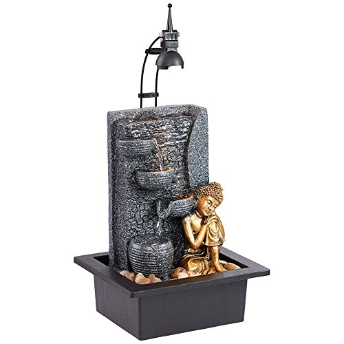 John Timberland Kneeling Buddha Asian Zen Indoor Table-Top Water Fountain with Light LED 17' High Cascading for Table Desk Home Office Bedroom Relaxation