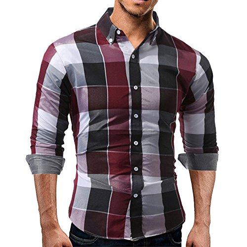 Hommes T-shirt à revers à carreaux Automne, Toamen manches longues Tartan du quotidien Sweatshirts Top Blouse Coupe slim Pour des Hommes (XL, rouge)