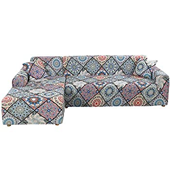 TOPCHANCES L Shape Sofa Cover ,2 Pieces L- Shaped Stretch Sectional Couch Covers with 2pcs Pillowcases ,Stretch Sofa Slipcover L-Type 3 Seats +3 Seats Sectional Sofa Cover  Bohemia