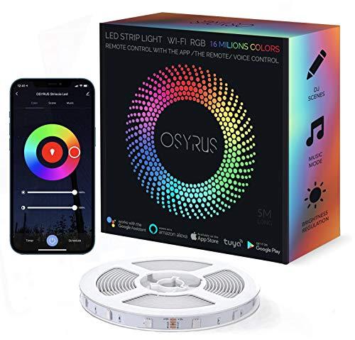 Striscia Led Alexa NEW 2021! OSYRUS, 5M Led RGB Impermeabile IP65, Led Colorati Per Camera, Smart Wifi Controllo APP Compatibile Con Alexa e Google Home, 16 Milioni Di Colori