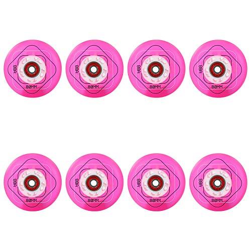 SSCYHT 88A Rueda de Patín en Línea Transparente con Rodamientos Rueda de Repuesto de PU para Patines para Niños y Adolescentes Paquetes de Mezcla Azul Rosa 8 Piezas,Rosado,68mm