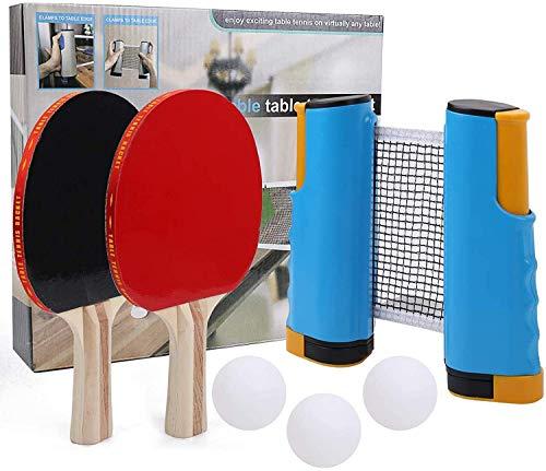 RJJBYY - Juego de tenis de mesa retráctil para interior y exterior, 4 bolas, 1 bolsa de almacenamiento universal para equipos de gimnasio en casa, deportes, ejercito, ojos y respuesta