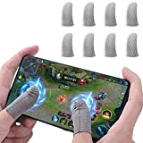 Newchichi 8PCS Mobile Game Controller Finger Sleeve, 0.01 Pulgada Ultrafino Transpirable Resistente al Sudor Fibra de Plata Touch Sensitive Finger Funda para PUBG, Compatible con iPhone/Android