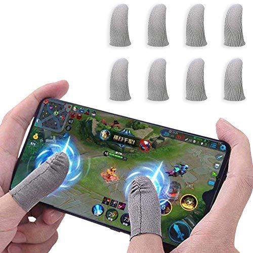 Newchichi Juego de 8 fundas de dedos para mandos de juegos móviles, ultrafinas, antisudor, transpirables, de fibra de plata, sensibles, para PUBG/Regla de supervivencia, compatibles con iPhone, iPad y Android, Azul