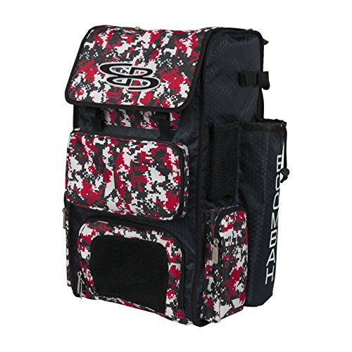 Boombah Superpack Bat Pack - Backpack Version (no Wheels) - Holds 4 Bats - Camo Black/Red - for Baseball or Softball