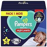 Pampers - Baby Dry Night Nappy Pants Talla 4, 156 pañales, 9 kg-15 kg, Pantalones De Noche Pampers Ofrecen Protección Adicional Durante Toda La Noche