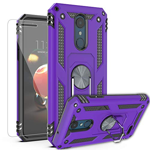 AYMECL LG Aristo 2 Case,LG Aristo 3/Rebel 4 LTE/Aristo 2 Plus/Tribute Dynasty/Zone 4 Case with HD Screen Protector,[Military Grade] Magnetic Support Metal Ring Armor Shockproof Cover-ST Purple