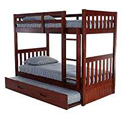 Bunk bed with trundle bed underneath.
