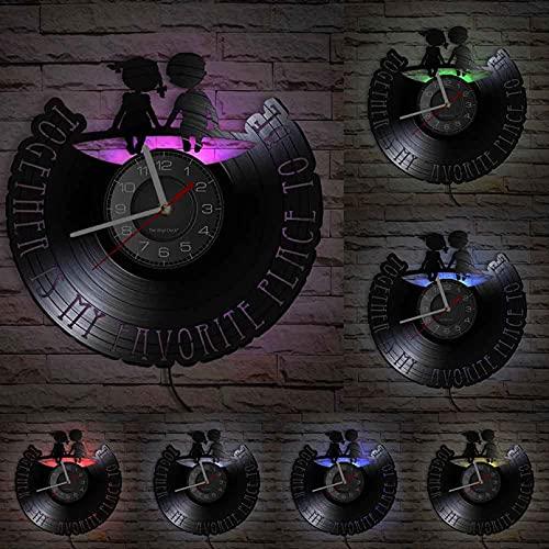 XYVXJ Me Encanta Estar Juntos Reloj de Pared Hecho de Disco de Vinilo Real Intimidad de la Infancia Reloj de Pared Moderno Disco Artesanía Decoración