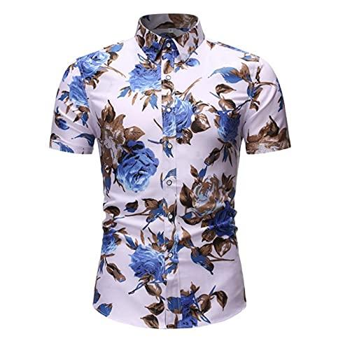 Camisa de manga corta para hombre, diseño floral, talla grande, corte ajustado. Blanco XXXL