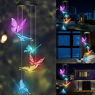 Wind Chime Solar Light Color Changing Butterfly LED Wind Chime Portable Waterproof Solar Power Wind Mobile Outdoor Decorative Romantic Wind Bell Light for Patio Yard Garden Home
