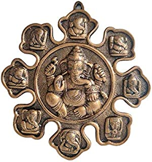 Akriti Brass Naumukhi Ganesh(L*B*H -28 * 2.5 * 30CM) Metal Lord Ganesha, Ganesh Wall Hanging for Entrance Door, Living Roo...