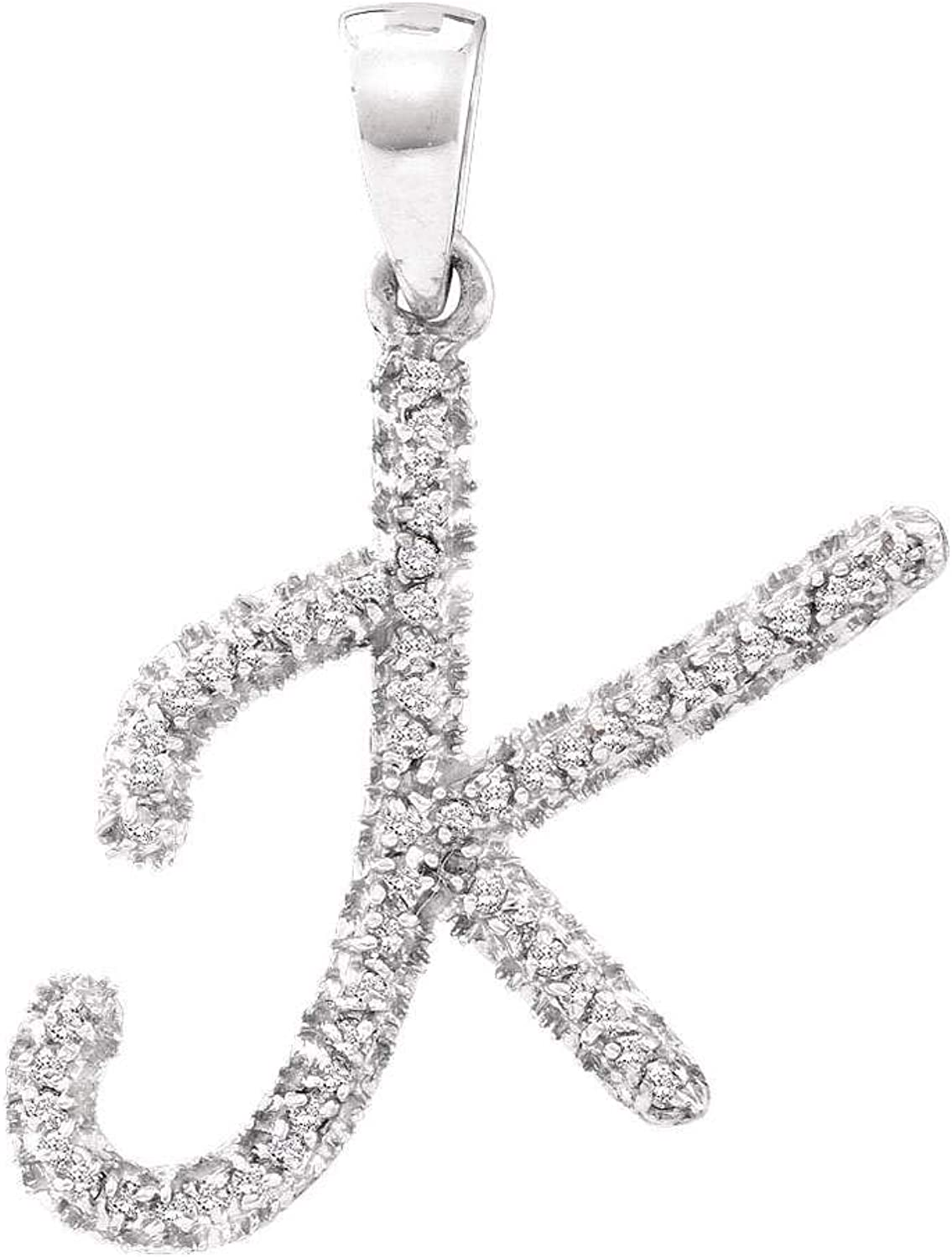 10kt White gold Womens Round Diamond Letter K Pendant 1 6 Cttw