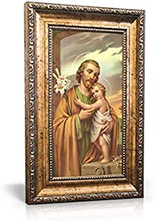 Traditional Image of St. Joseph - Framed Canvas 6 x 11 (Including Frame: 9.5 x 14.5)