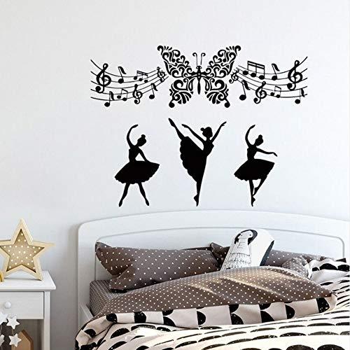 Cmhai Muziek Muurstickers Verwijderbare Vlinder Art Vinyl Muursticker Muziek Opmerking Home Art Mural Ballerina Ballet Dans Meisjes Decor Maat 42 * 50Cm