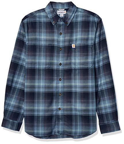 Carhartt Herren Rugged Flex Hamilton Plaid Flannel Shirt Button Down Hemd, Navy, Groß