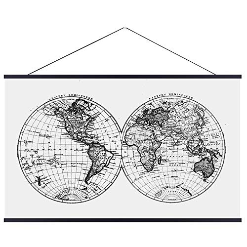 """Landmass 36"""" Wide Magnetic Poster Hanger Frame - Wall Hanging Wooden Frame for Posters, Prints, Photos, Pictures and Artwork - Black Frame for Scratch Off Map - 36x48 36x24 36x12 24x36"""