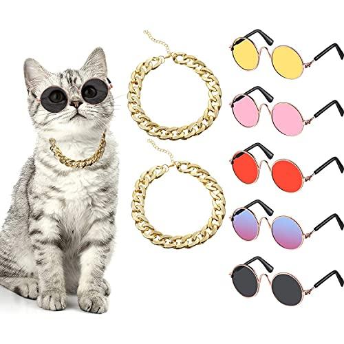 Set de Disfraz de Perro de 7 Piezas Incluye Cadena de Oro de Mascota y Gafas de Sol Divertidas de Gato Perro Pequeño Gafas de Sol Retro para Mascota Pequeña Mediana (Colores Vívidos)
