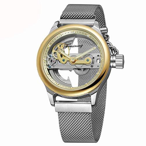 Forsining Herren Automatikuhr Automatik Skelett Edelstahl Mesh Armbanduhr Mann Business Kleid Analog Uhren,colorC