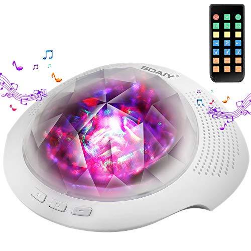 Aurora Night Light , Projector Nightlight Sound Machine with 7 Light Modes , Bluetooth Speaker, 4...
