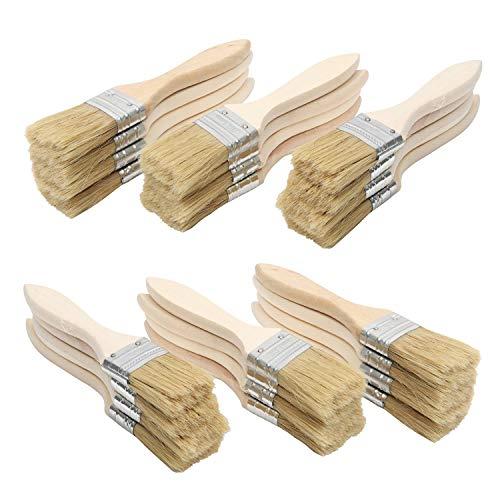"""Kurtzy Malerpinsel (24er Set) - 1,5\"""" (38,1mm) Flachpinsel set mit Holzgriff - Acrylpinsel Set Ideal für Wand und Holz Farbe zum Beizen, für Leim und Gesso-Grundierungen"""